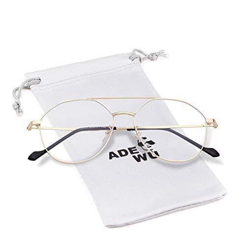 ADEWU Blaulichtfilter Brille Runde Metall Rahmen Wechselgläser Blaulicht Schtzbrille Blueblocker Computerbrille Klare Linse Gold