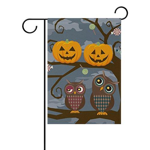 naanle Eule und Halloween-Kürbisse Polyester Garten Flagge doppelseitig, Halloween Urlaub Deko Garden House Flagge für Außen, Polyester, multi, 12 X 18 (Winter Eule Garten Flag)