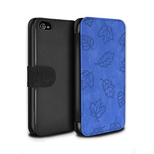 Stuff4 Coque/Etui/Housse Cuir PU Case/Cover pour Apple iPhone 4/4S / Rouge Design / Motif Feuille/Effet Textile Collection Bleu