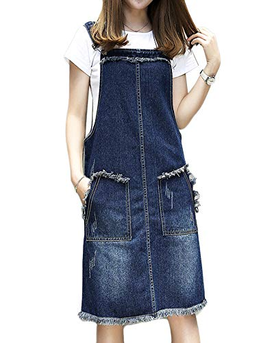 LaoZanA Damen Jeans-Latzkleid Jeansrock Jeans Trägerkleid Freizeitkleid Denimrock XL