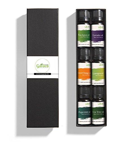 Garden of Eden - Luxus 100% reines ätherisches Öl Geschenk Set - 6 x 10ml Öle - für körperliche, emotionale und geistige Wohlbefinden