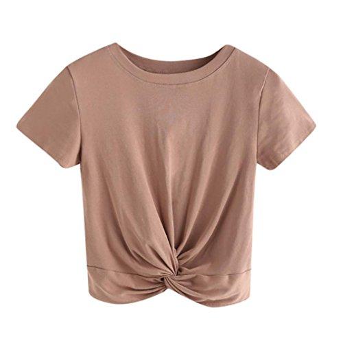 Kurzarm-twist (BHYDRY T-Shirt-Oberteile Damen Casual Solid O Hals Kurzarm Twist Vorder Crop Tee Bluse Tops(Small,Khaki))