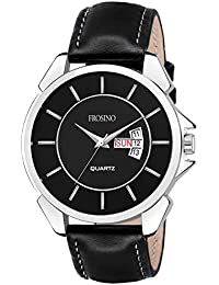 Frosino Mens Quartz Watch, Business Casual Fashion Analog Wrist Watch Classic Calendar Date Window, Waterproof Comfortable Faux Leather Strap Black Watch for Men - FRAC101834