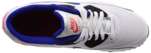 Nike Air Max 90 Essential, Baskets Mode Homme Multicolore (White/ultramarine/solar Red/bl 136)