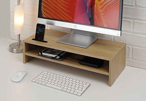 TTAP Roble Claro Dos Estante Laptop/TV Soporte Escritorio/Monitor
