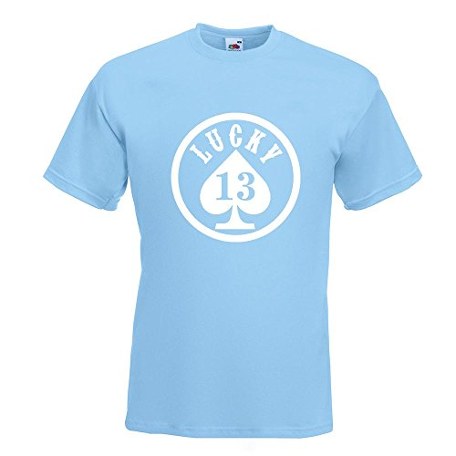 KIWISTAR - Lucky 13 T-Shirt in 15 verschiedenen Farben - Herren Funshirt bedruckt Design Sprüche Spruch Motive Oberteil Baumwolle Print Größe S M L XL XXL Himmelblau