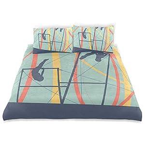 Dekor Bettbezug Set, Silhouetten an Stufenbarren olympischen bunten Streifen...