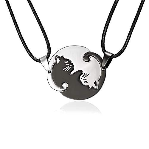 CHIPYHOME Collar Gargantilla Corazon Partido diseño Gatos Yin y Yang para Compartir y Llevar Entre Dos amig@s, Novi@s, papis e Hijos Original diseño