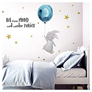 Little Deco Wandtattoo Bis zum Mond & Hase mit Luftballon I 83 x 47 cm (BxH) I Kinderzimmer Babyzimmer Aufkleber Sticker Wandaufkleber Wandsticker Kinder DL133
