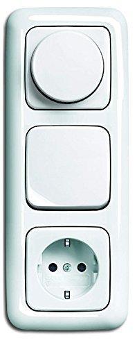 LED Dimmer KomplettSet BUSCH JÄGER, Drehdimmer alpinweiß Reflex SI 6523-U 102 (6523 U-102) in 3fach Rahmen + Steckdose mit integriertem erhöhtem Berührungsschutz (Kinderschutz) + Wippschalter + Wippe