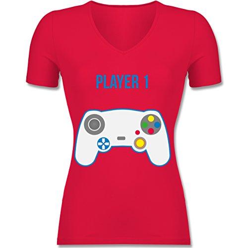 Shirtracer PartnerLook Familie Mama Player 1 Tailliertes TShirt mit  VAusschnitt für Frauen Rot
