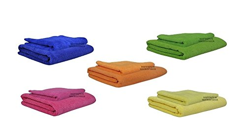 SOFTSPUN MICROFIBER BABY CARE TOWEL SET- WHITE COLOR - 2 PC'S - 60X120 CMS & 40X60 CMS