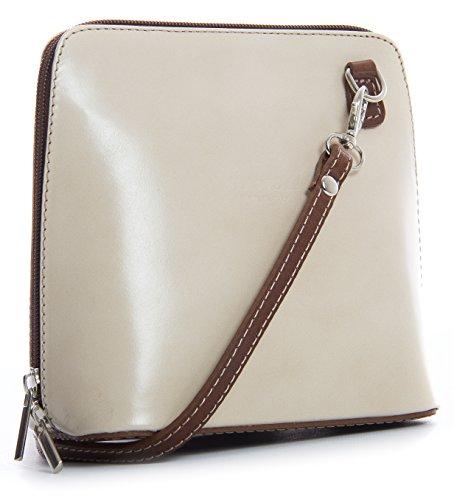 BHBS kleine Damenumhängetasche aus Italienischem Leder 18 x 16 x 7.5 cm (B x H x T) Cream - Brown