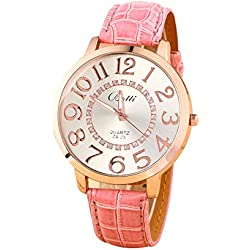 Batti ZA-23 Unisex Big Numerals Rhinestone Faux Leather Wrist Watch Pink
