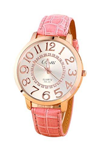 Reloj de pulsera - Batti ZA-23 reloj de pulsera unisex de cuero de imitacion de estras de numeros grandes rosado