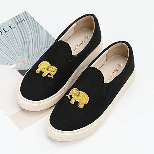 YOPAIYA Alpargatas Las Mujeres Negras Zapatillas Planas Cartoon Elefante Patrón, Classic Slip On Flat Zapatos Causal,37