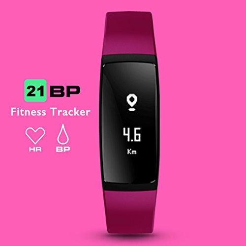 Track-telefon Android (Fitness Tracker, Aupalla 21BP Smart Band Activity Tracker Arbeit mit Herzfrequenz Monitor und Blutdruck Messen Schrittzähler Schlaf Monitor Kalorien Track unterstützt iPhone Android Smartphone, violett)