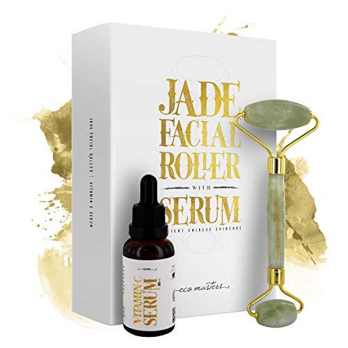 Jade Roller Gesicht mit Vitamin C Serum | Anti Aging Pflege Set | Mit Hyaluronsäure & Kollagen | Gegen Falten & Altersflecken | 100% reiner Jade Edelstein | Massage Gesichtsroller | Eco Masters