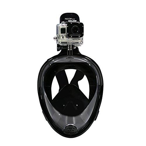 NEOpine 180° Full Face Schnorchelset Maske Schnorchel Einfache Atem für Anti-Fog Diving.No Undichte mit Schnorcheln Schnorchel ausrüstung.Large anzeigen Field.Durable Integrated Medical Silikon Passend Verschiedene People.Long Lifetime. (schwarz, S/M)