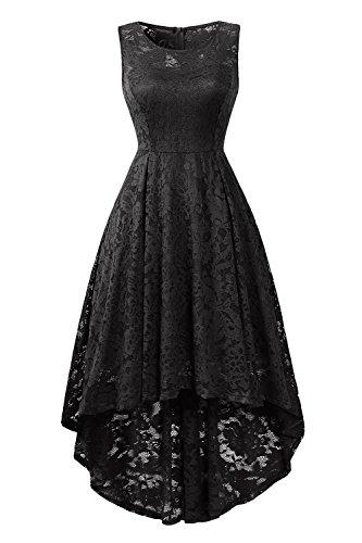GREMMI Elegant Kleid aus Spitzen Damen Ärmellos Vintage Spitze Abendkleider Unregelmässig...