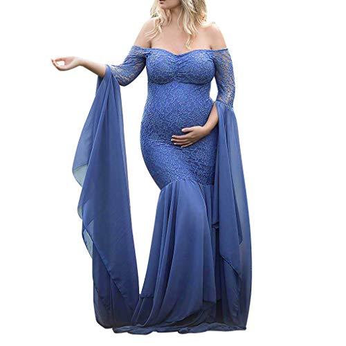 Damen Umstandskleid,❤️Binggong Damen Schwangere Fotografie Requisiten aus Schultern Lace Nursing Langes Kleid