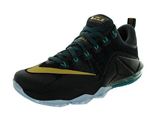 Nike Lebron Xii Low, Chaussures de Sport-Basketball Homme Noir / jaune / gris (noir / doré métallique - anthracite - émeraude radieux)