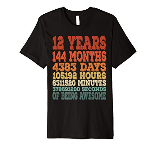 12th Birthday Tshirt Bday Gifts For 12 Year Old Girl Boy Tee
