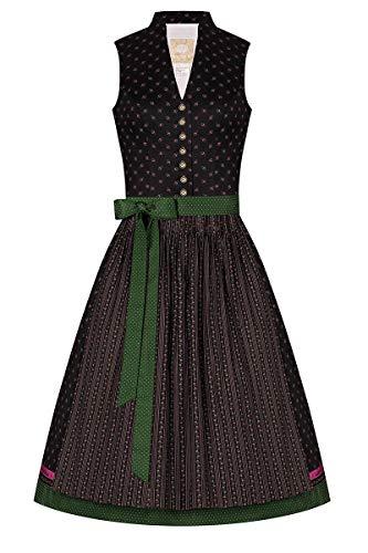 Moser Midi Dirndl 65er schwarz geblümt grün gepunktet Larissa 008327, Blumendruck, Retro-Schnitt mit Stehkragen, hochgeschlossenes Mieder, Trachtenknöpfe aus Metall 36