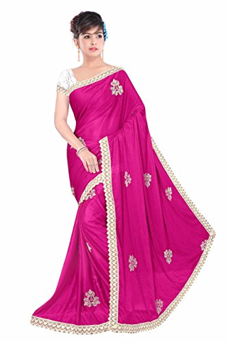 Sarees(DIYA Fashion New Disigner Georgette Party Wear Saree With Blouse Piece , Bollywood Designer Saree, Latest Collection Designer(Pink London Pech Work With Silver Borderl)  available at amazon for Rs.475