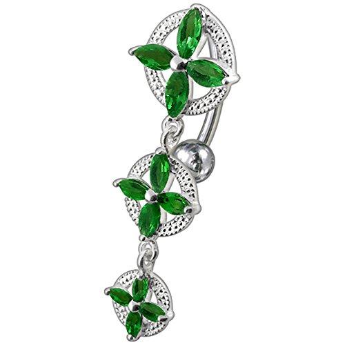 Barres de Pierre en cristal mode Triple Croix Design 925 en argent Sterling avec le ventre en acier inoxydable Dark Green