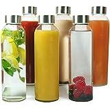 Wenburg Glasflaschen 500ml, 6 St. im Set + Reiningungsbürste, Stabile Trinkflaschen aus Glas für Säfte, Tee, Wasser, Smoothies. Geeignet für Erwachsene, Kinder. (Ohne Schutzhüllen, 0,5 l)