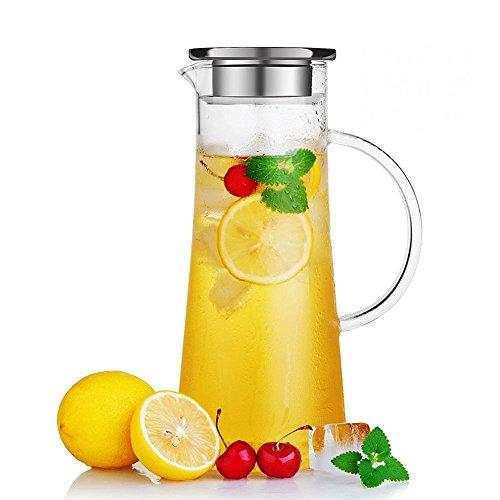 Susteas 1.5 Liter 53 Unzen Glas Krug karaffe mit Deckel Eistee Krug Wasserkrug heißes Kaltes Wasser Eistee Wein Kaffee Milch und Saft Getränkekaraffe wasserkaraffe glaskaraffe