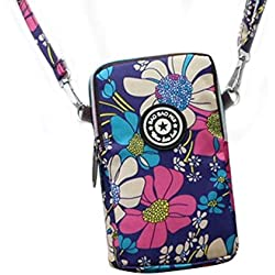 Libertry estilo coreano bolsa de teléfono móvil de impresión de la mujer Mini Messenger Bag Cuello colgante Nylon Impermeable Deportes corriendo Brazo Muñequera Monedero con cremallera de 2 capas