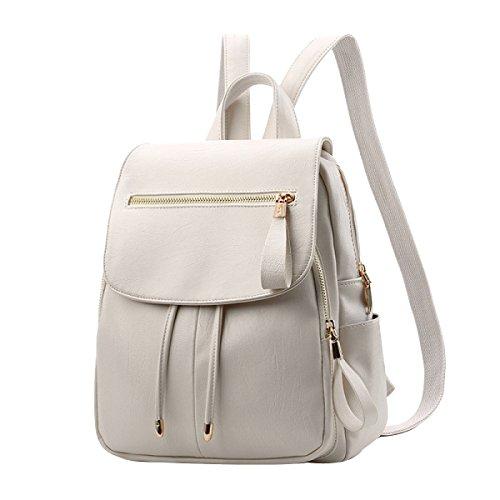 Rucksäcke Frauen PU Leder Rucksack Schultasche Daypack Bookbag,White-M