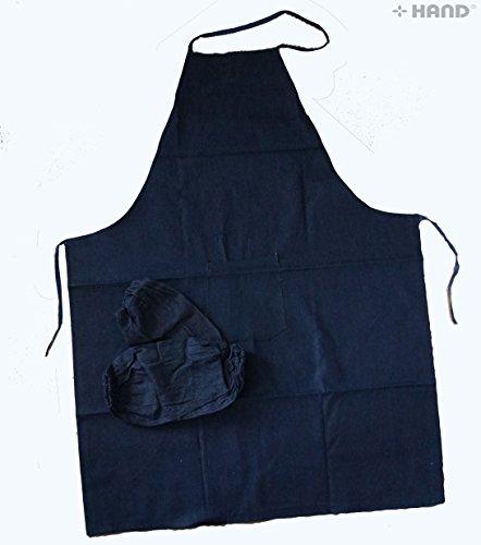 Medium-Jean Stretch pour Cuisine/Cuisson/Art tablier et 1 Paire de manches en Denim Protections de bras