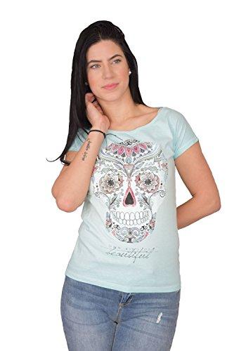 Golden Trachten Damen T Shirt Slim Stylischer Totenkopf Aus Baumwolle Rundhals Sportlich Elegant Sommer Tshirt, 9015, Türkis, L