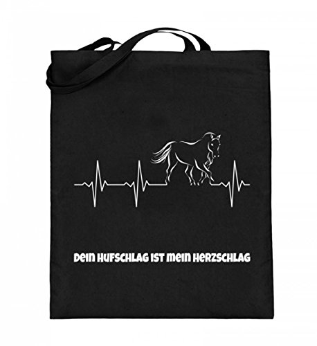Hochwertiger Jutebeutel (mit langen Henkeln) - Sonderedition Pferdename! Schwarz
