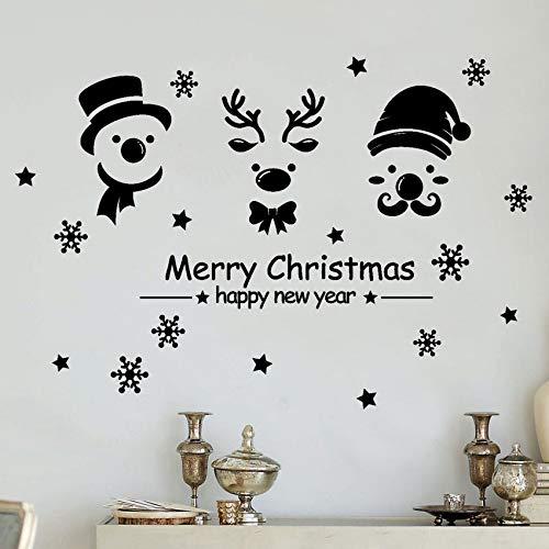Pbldb 74X50 Cm Bonne Année Joyeux Noël Flocon De Neige Autocollant Mural Home Shop Windows Stickers Décor De Noël Décorations Pour La Maison Noir