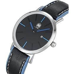AIBI Wasserdicht Damen-Armbanduhr Analog Quarz Leder Kalender Schwarz/Blau