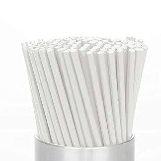 Paper Straws Biodegradable Drinking Straws White - 180 Pcs Eco Friendly Regular Size Thick Paper Straws for Party Birthday Wedding Celebrations | Food Grade - Bleach Free | Free Green Smoothies eBook
