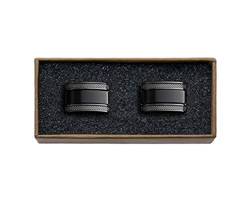 VALDERO® Herren Manschettenknöpfe - Men\'s Essentials in Box (Blau Perlmutt Schwarz) (1 Paar - Gun Black Metall, Schwarzer Stein)