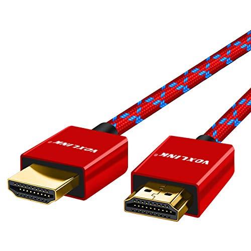 Cavo HDMI 2.0 ad alta Velocità con Connettori Placcati oro, Supporta 4K UHD 2160p,HD 1080p,3D, Ethernet,ARC, Compatibile con Xbox,PS4/PS3, HDTV, Proiettori,Lettore BluRay DVD, PC e altro (1,8M, rosso)