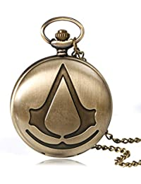 Steampunk Reloj de bolsillo de cuarzo analógico de la película de Assassin para hombre, collar y reloj de bolsillo de regalo 2 Color (Bronze)