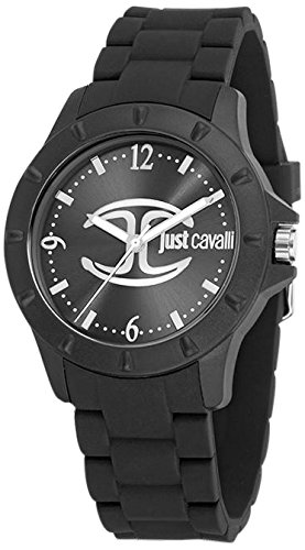 Just Cavalli Women's Quartz Watch with Black Dial Analogue Display and Black Rubber Bracelet R7253599511