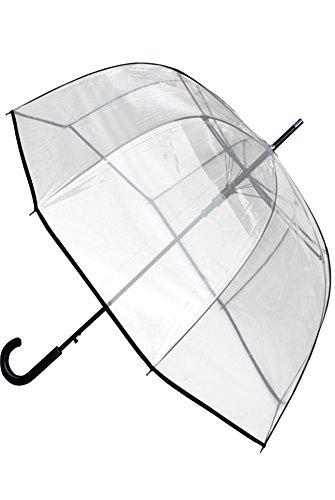 C&C LONDON - Paraguas Transparente - A PRUEBA DE VIENTO - FUERTE - ALTA TECNOLOGÍA PARA COMBATIR POSIBLES DAÑOS - Apertura Automático - Varillas De Fibra De Vidrio - Gran Toldo - Ribete Negro