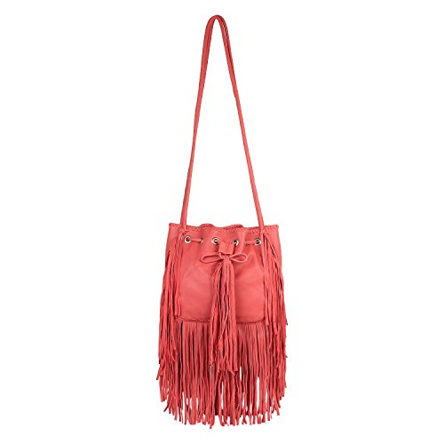 Paint Genuine Leather Falling Fringes Coral Sling(PT2152CB121)