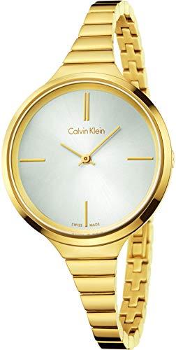 Calvin Klein Orologio Analogico Quarzo da Donna con Cinturino in Placcato Oro K4U23526