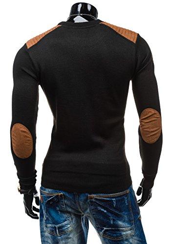 BOLF Herrenpullover Pulli Sweatshirt Sweatjacke Sweater Top S-WEST 6015 Schwarz