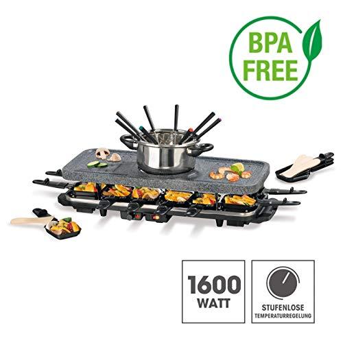 Raclette y fondue para 4-6-12personas 1600W, BPA feie cerámica antiadherente.