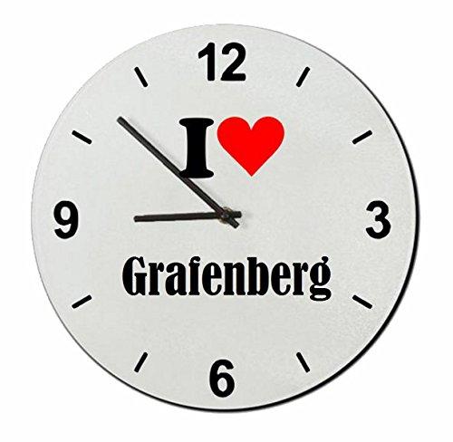 Exklusive Geschenkidee: Glasuhr 'I Love Grafenberg' eine tolle Geschenkidee die von Herzen kommt- Uhr- Weihnachts Geschenktipp